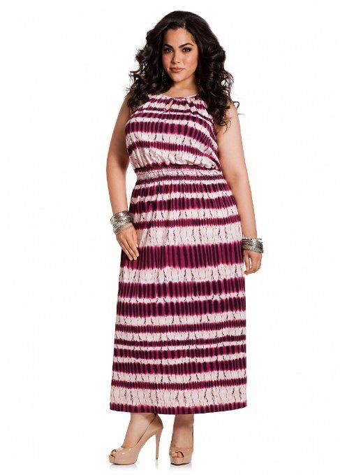6fc6925ef490f Ashley Stewart Women s Smocked Waist Batik Print Plus Size Maxi Dress –