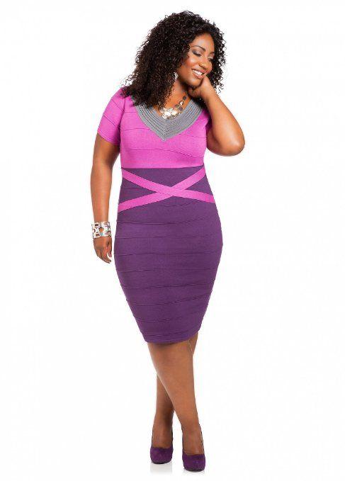 Ashley Stewart Womens Tri Tone Bodycon Plus Size Sweater Dress