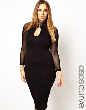 ASOS CURVE Plus Size Bodycon Dress With Deep Plunge Brooch Neck ...