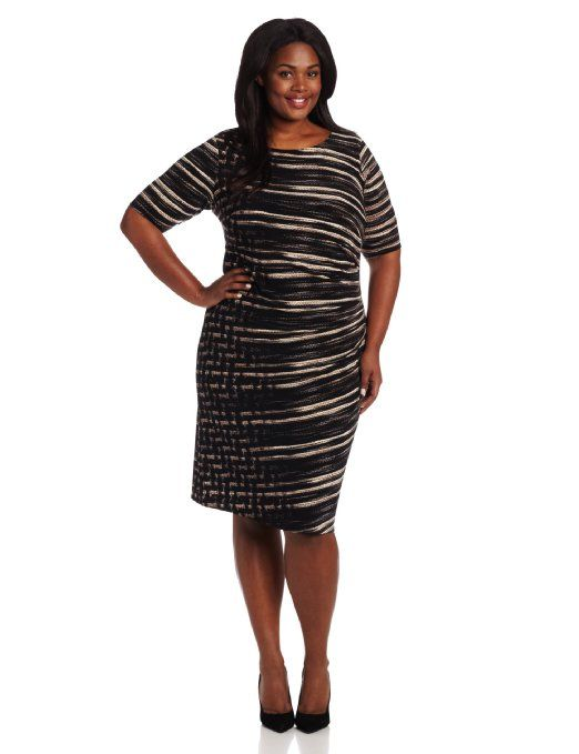 Anne Klein Heather Side Pleated Plus Size Dress | Dress Ideas