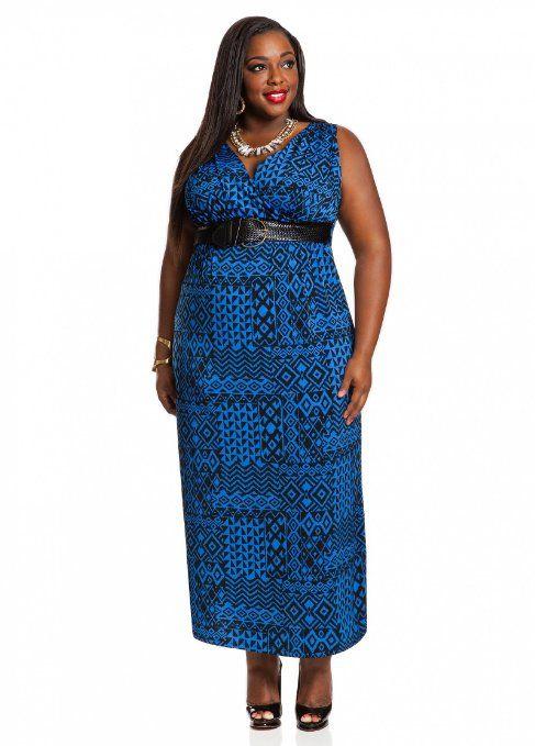 Ashley Stewart Women\'s V-Neck Belted Maxi Plus Size Dress | Dress Ideas